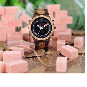 Other - Men's zebra wooden military watch led digital New